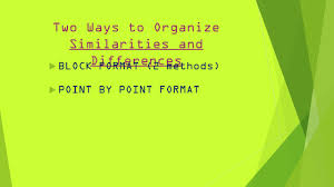 compare and contrast essays inform reader about the 2 two ways to organize similarities and differences 61557 block format 2 methods 61557 point by point format