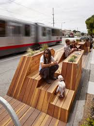 public amenity by interstice architects undulates to form a bike parking platform lounge chairs tables planters and a place for social gathering architecture furniture design spaceframe furniture colection design