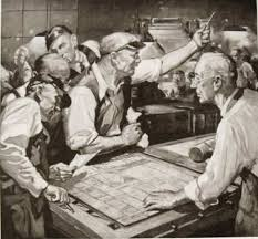 An older style illustration of the presses being stopped in an news room