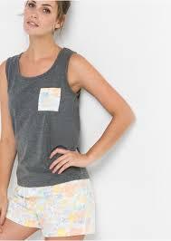 <b>Пижама с шортами</b> серый меланж с рисунком - Для женщин ...