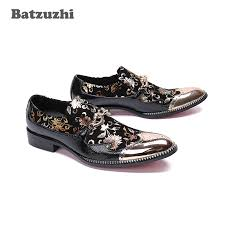 Batzuzhi Brand Luxury Men <b>Dress</b> Shoes Metal Tip Toe Wine Red ...