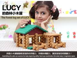 children brand wooden cabin assemble doll house with 2pcs baby wooden doll kids diy wooden brand baby wooden doll house