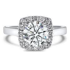 Amazon.com: Moissanite <b>Square</b> Halo Engagement Ring 1.30 ctw ...