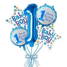 Rozi Decoration 1st <b>Birthday Boy</b> Foil Balloon Set(Pack of 5-Blue ...