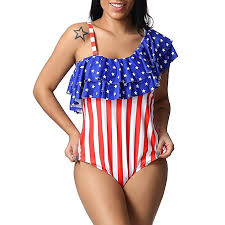 <b>One Piece</b> Bikini Forthery Women American Flag Monokini USA <b>4th</b> ...