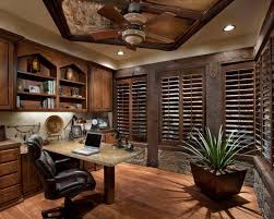 breathtaking office space idea presented with dark brown colored blind windows and small potted plant in the corner also small rustic home office desks with bathroom small office space