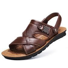 Genuine <b>Leather</b> Men's Sandals <b>Top Layer Cowhide</b> 2 Function 1 ...