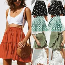 <b>Fashion Women Solid</b> Ruffles <b>Bandage</b> Lace Up Short Skirt Casual ...