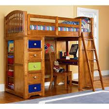 shelving built bedroom dresser natural light brown wooden loft bed