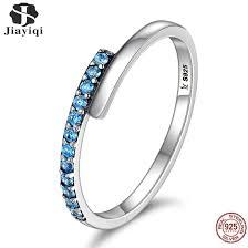 <b>Jiayiqi 100</b>% <b>925</b> Sterling Silver Inlaid Blue Zircon Finger Ring ...