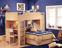 f astounding small bedroom design featuring dark blue wall paint schemes and contemporary natural brown finish cherry wood bunk beds which has steel astounding modern loft bed