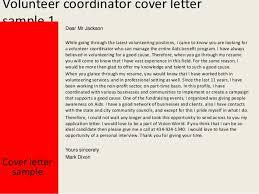 volunteer coordinator cover letter   volunteer coordinator cover letter sample