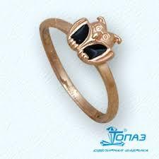 Детское золотое <b>кольцо Сова с эмалью</b>
