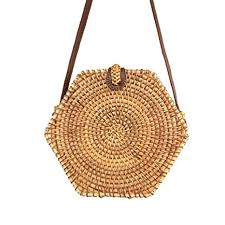 Hexagon Rattan Bag, <b>Summer Beach</b> Bag Hand-<b>Woven Bag</b> ...