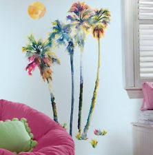 palm tree wall stickers: palm trees colorful wall stickers mural  decals room decor tropical beach
