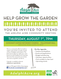 adelphi acre community garden milwood neighborhood assoc aug1st flyer web