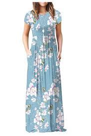 Viishow <b>Women's Short Sleeve Loose</b> Plain Maxi Dresses Casual ...