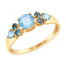 <b>Кольцо</b> из золота с голубыми и синими <b>топазами</b> арт. 714995 от ...