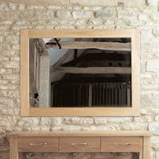 baumhaus mobel solid oak medium wall mirror cor16b baumhaus mobel oak medium