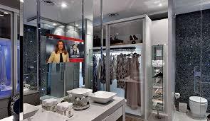 interior design glass technology residential bathroom application tv monitor display in glass app design innovative office