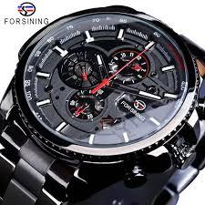 <b>Forsining</b> Full Black <b>Tourbillon Mechanical</b> Watches <b>Male</b> ...
