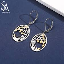 <b>SA SILVERAGE 925</b> Sterling <b>Silver</b> Tree of Life Drop Earrings for ...