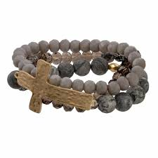 <b>Faceted</b> and <b>natural stone</b> bead bracelet with cross focal.   420312 ...