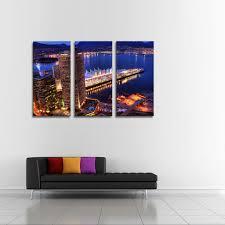 2019 Unframed <b>Canvas</b> Wall Art <b>Home Decoration</b> 3 Panels City ...