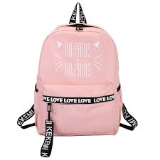 Moon Wood Lovely <b>Cat</b> Letter <b>Printing</b> Backpack Pink School Bags ...