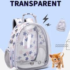 Solid color transparent pet bag cat / Dog backpack out portable bag ...