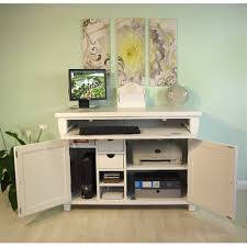 baumhaus hampton white painted armoire desk with cable management baumhaus hidden home office 2