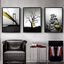 <b>Nordic Modern Minimalism</b> Black <b>Landscape</b> Tree and Bridge Gold ...