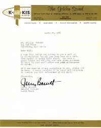 kkis plummer letter bay area radio museum business letter 30 1962