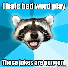 I hate bad word play Those jokes are pungent - Lame Pun Coon ... via Relatably.com