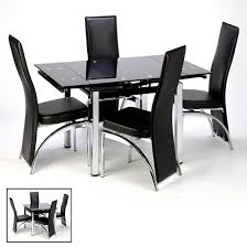 small black glass dining table