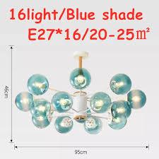 16light <b>Nordic LOFT Glass</b> LED Chandelier Modern pendant lamp ...