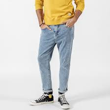Men's Light Wash Jeans Side Striped Slim Fit <b>Ankle</b>-<b>Length</b> - <b>FREE</b> ...