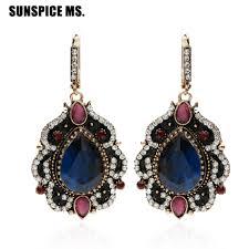 New Turkish Women Long Hook <b>Vintage</b> Earrings Water Drop Resin ...