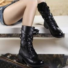 Solid Lace up Ladies <b>PU</b> Leather Fashion Boots Black <b>Size 35-42</b>