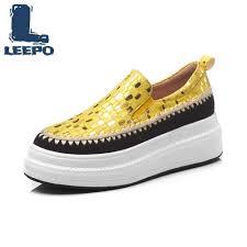 LEEPO <b>Women Flat</b> Platform Loafers Shoes <b>Woman Luxury</b> ...