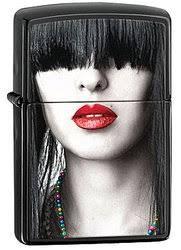 <b>Зажигалка ZIPPO Red Lips</b>, латунь с покрытием Ebony™, чёрный ...