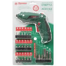 <b>Отвертка аккумуляторная</b> Hammerflex <b>ACD3</b>.<b>6LE</b>, 3.6 В, 0.6 Ач ...