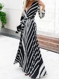 <b>V</b>-<b>Neck Striped</b> Print Maxi Dress | Fashion for Me in 2019 | Dresses ...