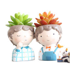 ROOGO <b>Curly</b> Juvenile Resin <b>Flower</b> Pot Cartoon Potted Ornaments ...