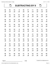 Grade 2 - Math Worksheets (Vertical Subtraction)