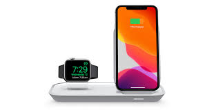 mophie <b>2-in-1 wireless</b> charging stand - White - Apple