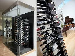 luxury wine cellar with floor to ceiling mounted floating wine racks stact custom bellevue custom wine cellar