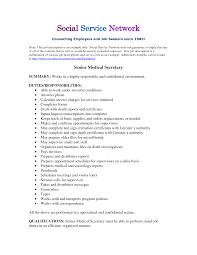 resume job descriptions getessay biz medical secretary job description resume in resume job