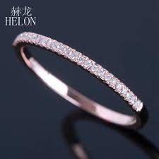 <b>HELON Half Eternity Ring</b> Solid 10k Rose Gold 0.1CT Natural ...