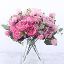 30cm <b>Rose</b> Pink Silk Peony Artificial Flowers Bouquet 5 <b>Big Head</b> ...